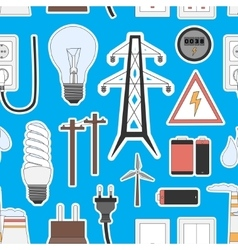 Energy electricity power icons in colors pattern vector image