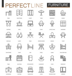 furniture thin line web icons set outline stroke vector image