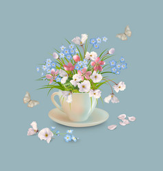 herb and flowers in the cup vector image