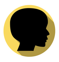 people head sign flat black icon with vector image vector image