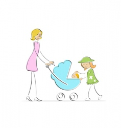 mother and kids vector image vector image
