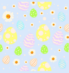 seamless easter pattern with painted eggs vector image