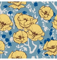 seamless pattern Retro flowers and leaves vector image vector image