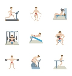 Types of exercises in gym icons set cartoon style vector image vector image