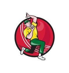 Cricket Fast Bowler Bowling Ball Side vector image vector image