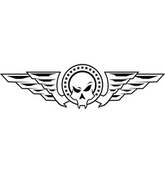 insignia with skull and wings vector image vector image