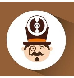 Man hipster standing with music disk vector