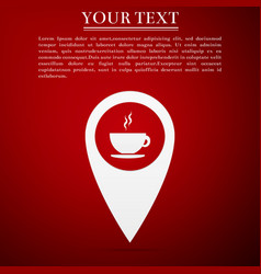 map pointer with hot coffee cup icon isolated vector image vector image