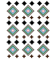 Red green brown rural geometric ornament vector image