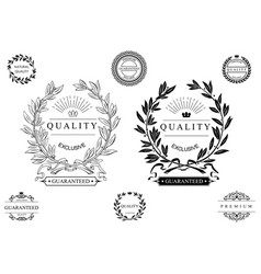 set of round classical emblems vector image vector image