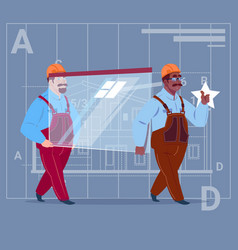 Two cartoon builders carry glass wearing uniform vector