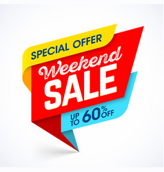 weekend sale special offer advertising banner vector image vector image