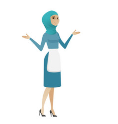 young muslim confused cleaner with spread arms vector image vector image