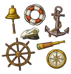 anchor wheel sailing ship compass rose vector image vector image