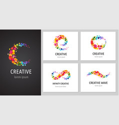 creative icons logo collection with letters vector image vector image