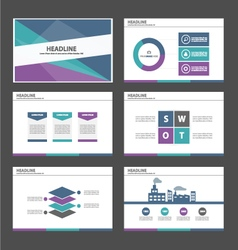 green blue purple presentation temaplates set vector image