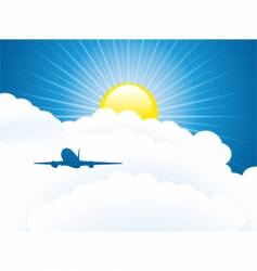 plane and clouds vector image vector image