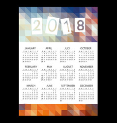 2018 simple business wall calendar with low vector