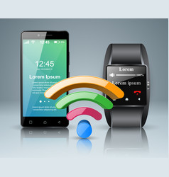 3d infographic smartphone smartwatch icon vector