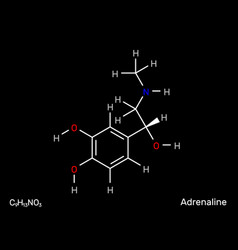 Adrenaline neurotransmitter structural formula vector