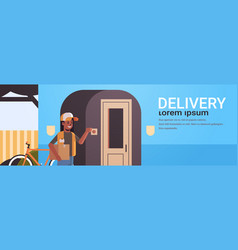african american courier woman delivering vector image