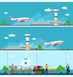 Airport Banners Travel Concept vector