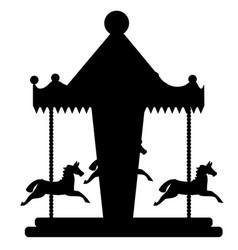 amusement park element carousel with horses vector image