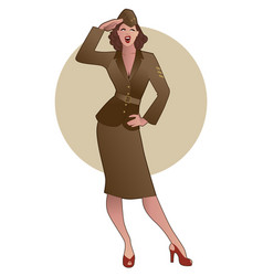 Army girl in retro style wearing soldiers uniform vector