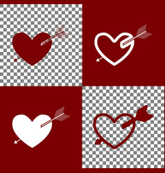 arrow heart sign bordo and white icons vector image