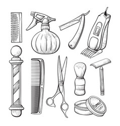babershop business sketch tools line art set vector image