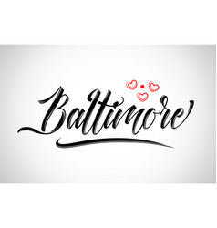 Baltimore city design typography with red heart vector