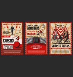 Big top circus shapito acrobats and animals vector