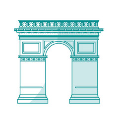 blue silhouette shading monument arch antique vector image