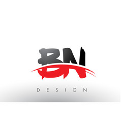 Bn b n brush logo letters with red and black vector