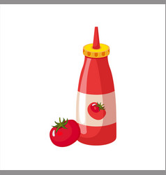 bottle of ketchup and fresh tomato street fast vector image