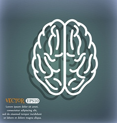 Brain icon On the blue-green abstract background vector image