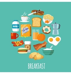 Breakfast icon flat vector