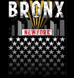 bronx print tee graphic design vector image