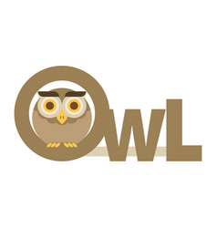 Brown owl flat vector