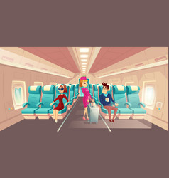 cabin of plane with stewardess passengers vector image