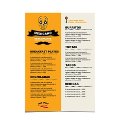 Cafe menu mexican template design vector image