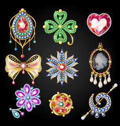 Cartoon colorful beautiful jewelry collection vector