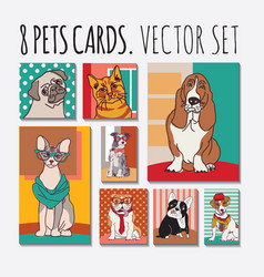 cats and dogs cards animals pets set vector image