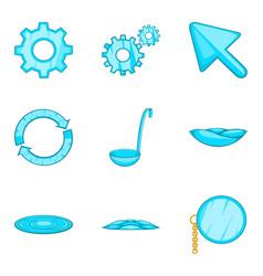 Celestial blue icons set cartoon style vector
