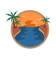 circular riverside sunset palm trees travel island vector image