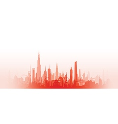 Cityscape with fade red vector