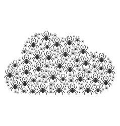 Cloud composition spider icons vector