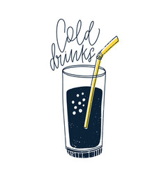 Cold non-alcoholic drink or cocktail in glass with vector