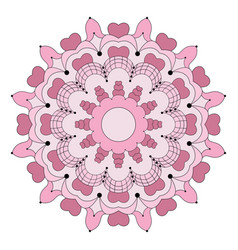 Colored circular flower mandala with hearts vector