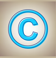 Copyright sign sky blue icon vector